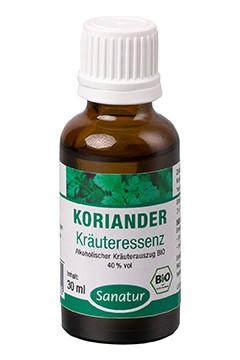 Koriander <br /> Kräuteressenz, BIO<br /> Alkoholischer Kräuterauszug (30 ml)